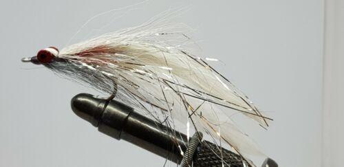4QTY HALF /& HALF GREY WHITE Fishing Flies size 2//0