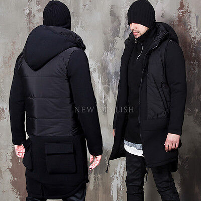 NewStylish mens winter jumper Padding mixed neoprene detachable hood black parka