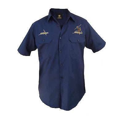Melbourne Storm NRL LONG Sleeve Button Work Shirt BLACK Workwear Gift Tradies