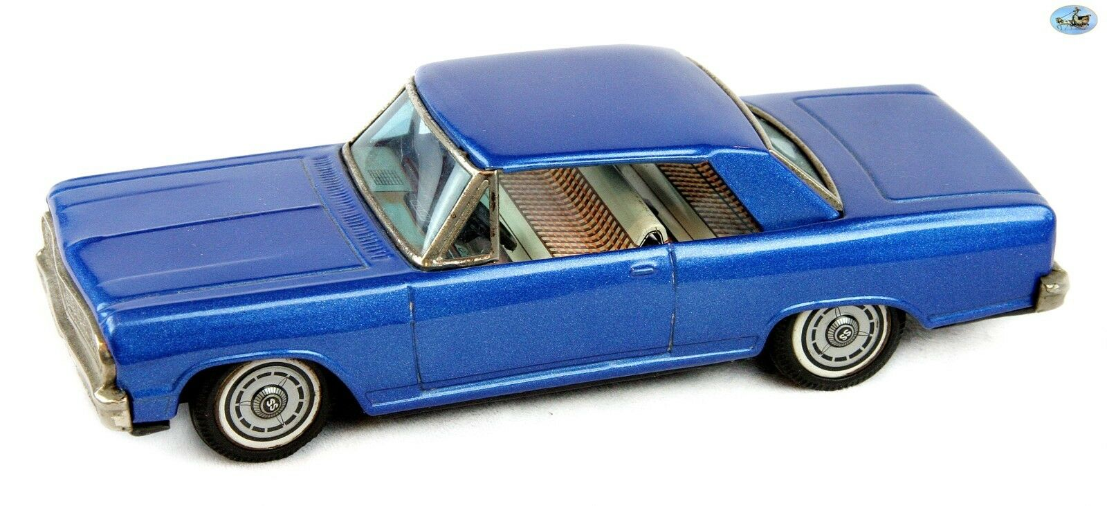 Awesome 1965 Sällsynt årgång Bandai japan blå Chevrolet Impala Tin Friction bil