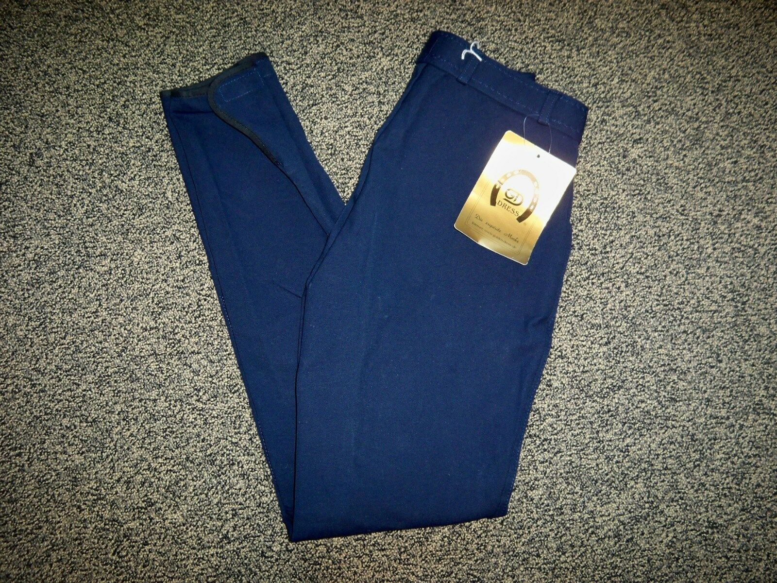 NWT golden Dress RIDING Breeches Navy bluee Suede Knee Patches Size Ladies 22 L