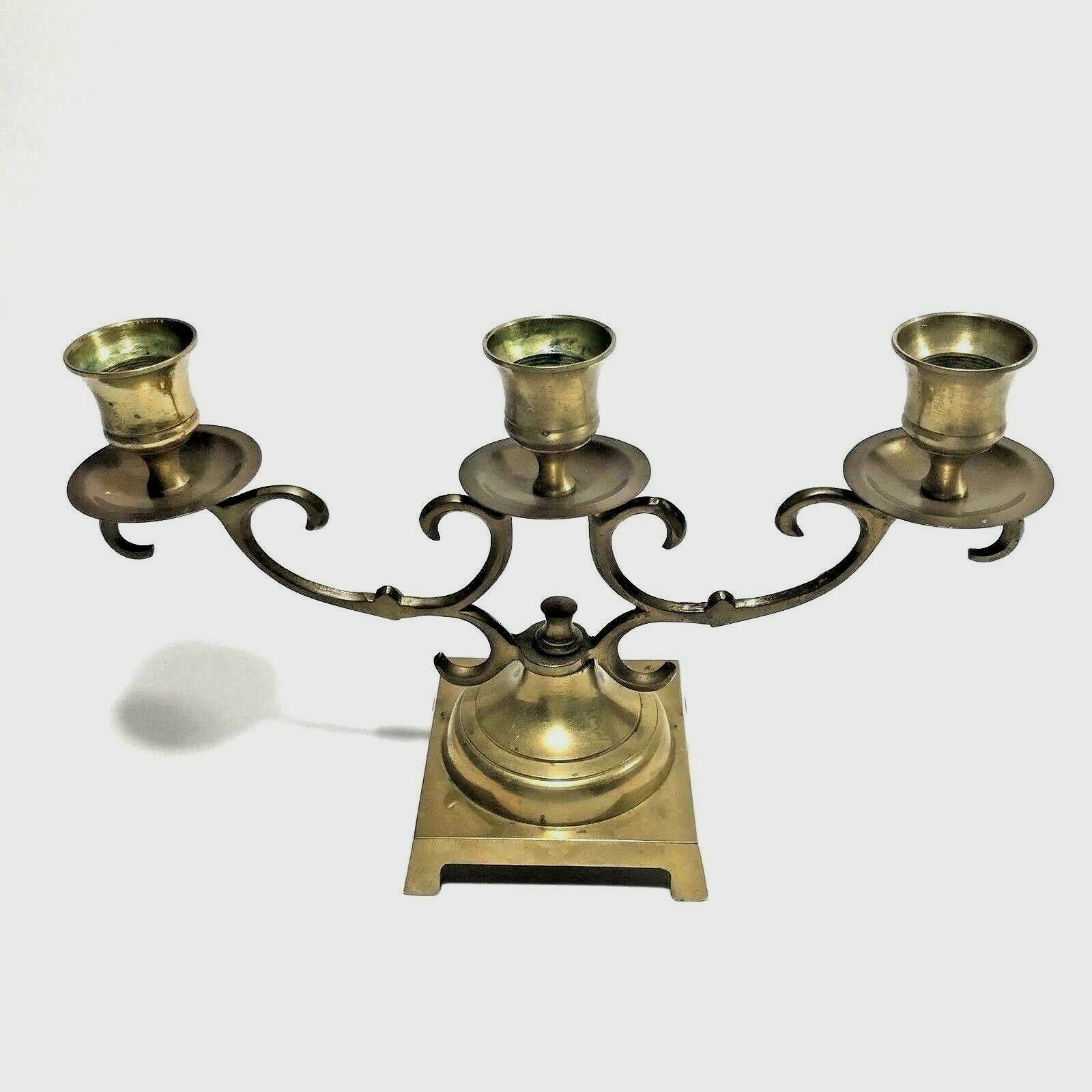 Vintage Brass Candelabra Candle Holder Center Piece Made in Japan Aged Patina