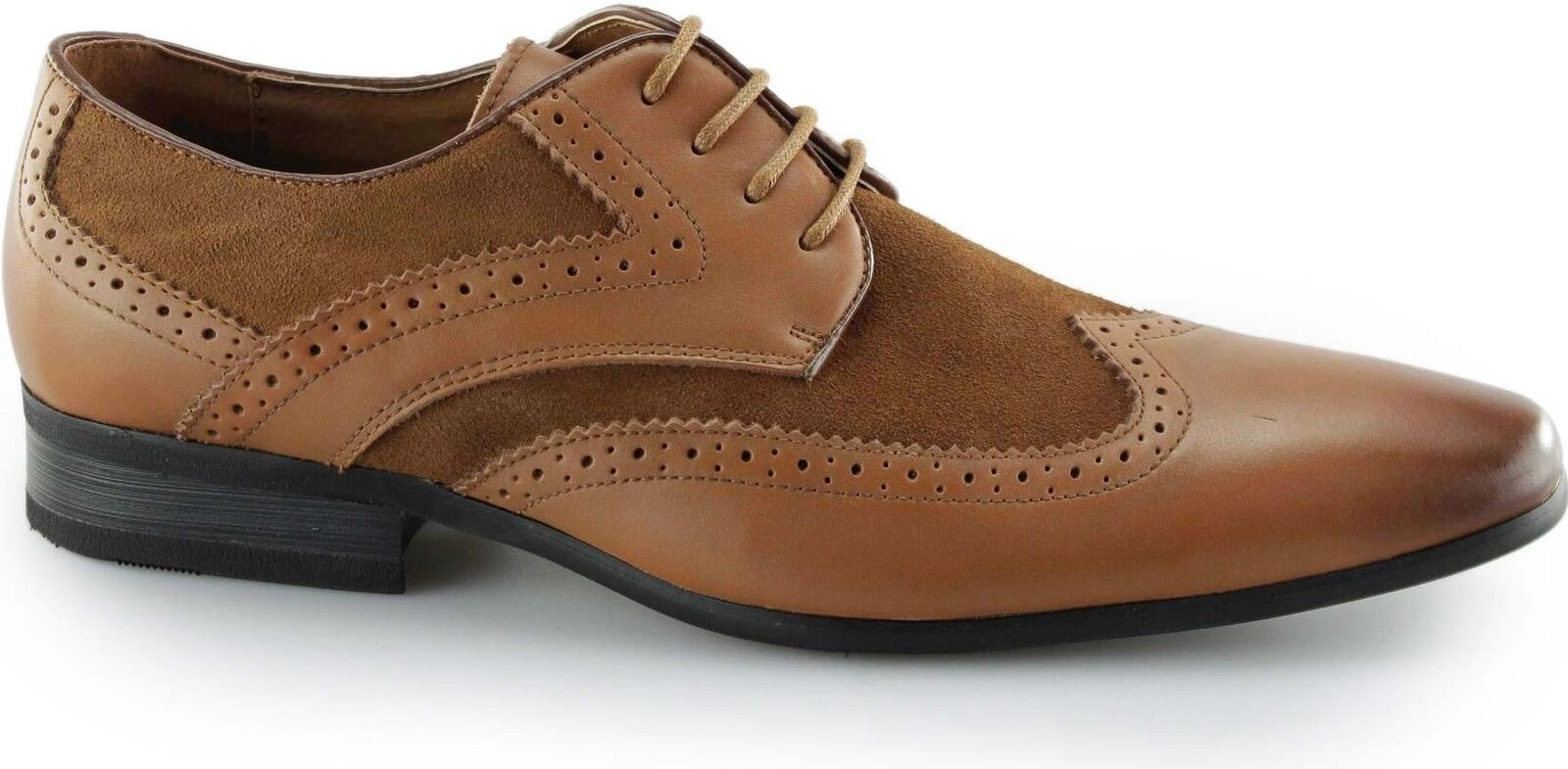 Front TURIN   Herren Soft Leder Smart Suede Lace-Up Chisel Brogue Smart Leder Formal Schuhes Tan d22fb1