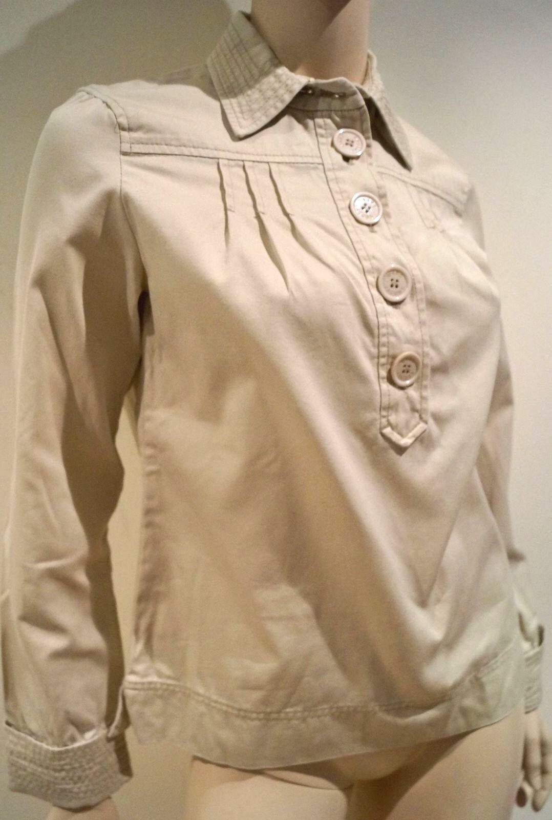 MARC JACOBS damen Beige 100% Cotton Collarot Long Sleeve Blouse Top US8 UK12