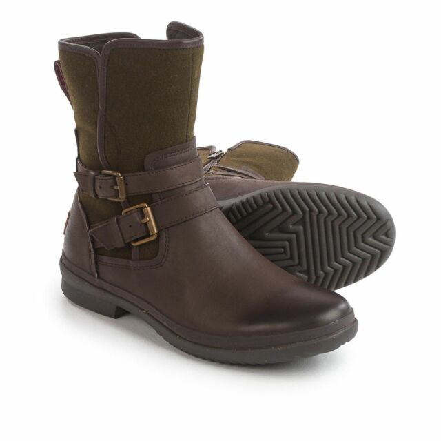 d996ca6b37a Ugg Australia Simmens - Leather Stout Brown Boots Buckle Moto Waterproof