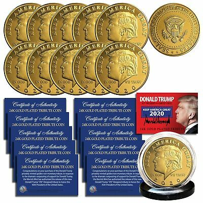 Donald Trump 2020 Keep America Great 24k Gold Clad Medallion Coin Lot Of 10 Ebay