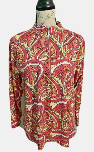 NWT Women's LULU B Long Sleeve 1/4 Zip Top UPF 50+ Cooling Effect Large $75