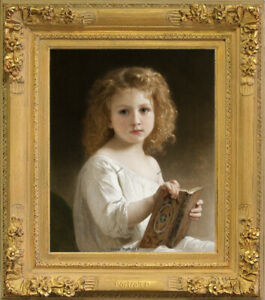 Old Master Art Portrait Little Girl The Story Book Oil Painting Unframed 24x30
