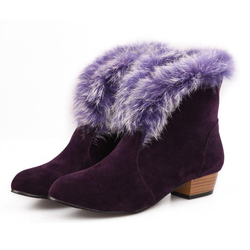 Warm Damen Stiefeletten pelz wildleder Stiefel Schneeschuhe Ankle Stiefel wildleder high heels 42 43 228fea