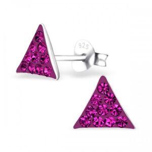 Triangulo-de-plata-esterlina-925-Rosa-De-Cristal-Pendientes-con-Pasador