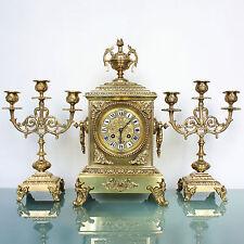 JAPY FRERES Mantel Clock/Candelabras! TOP SET C1900 French ANTIQUE ORMOLU Bronze
