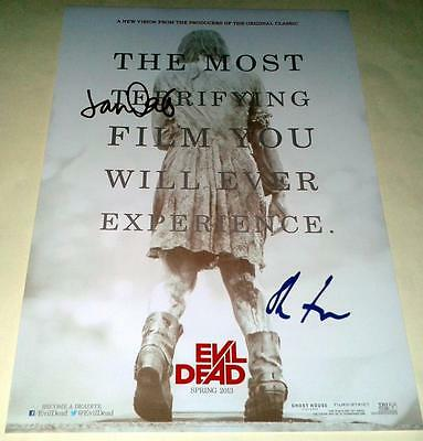 """EVIL DEAD REMAKE CAST X2 PP SIGNED 12""""X8"""" INCH POSTER JANE LEVY"""