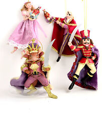 Nutcracker Ballet Suite of 4 Trimmed with Velour 6 inch Christmas Ornaments  NEW