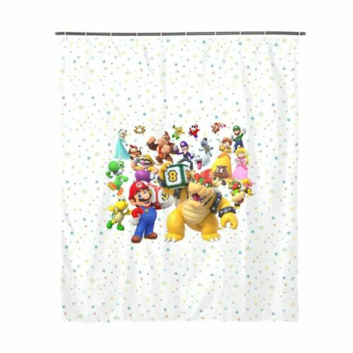 Super Mario Anime Waterproof Shower Curtain Bathroom Wall Hangings Decor 3 Size