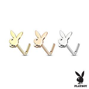 Playboy Bunny Stud 316L Surgical Steel L Shape Nose Ring Select Color