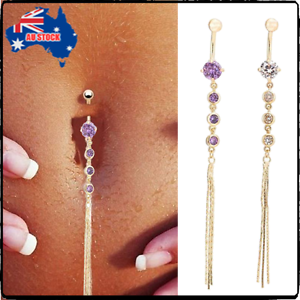 Hot-Crystal-Rhinestone-Belly-Button-Dangle-Ring-Navel-Body-Piercings-Long-Tassel