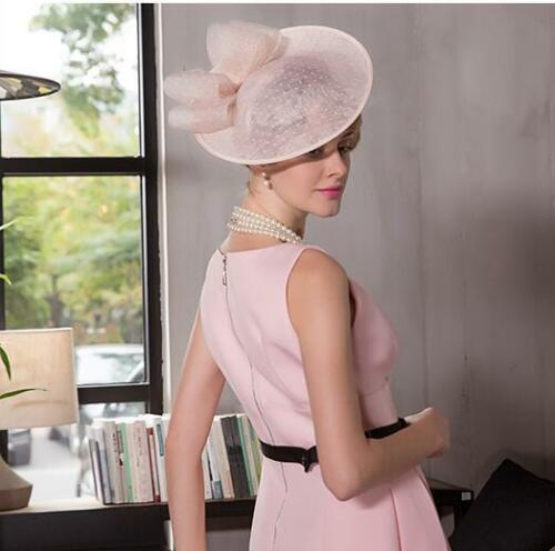 Women/'s Kentucky Derby Church Wedding Noble Dress linen feather Sinamay hat vvv