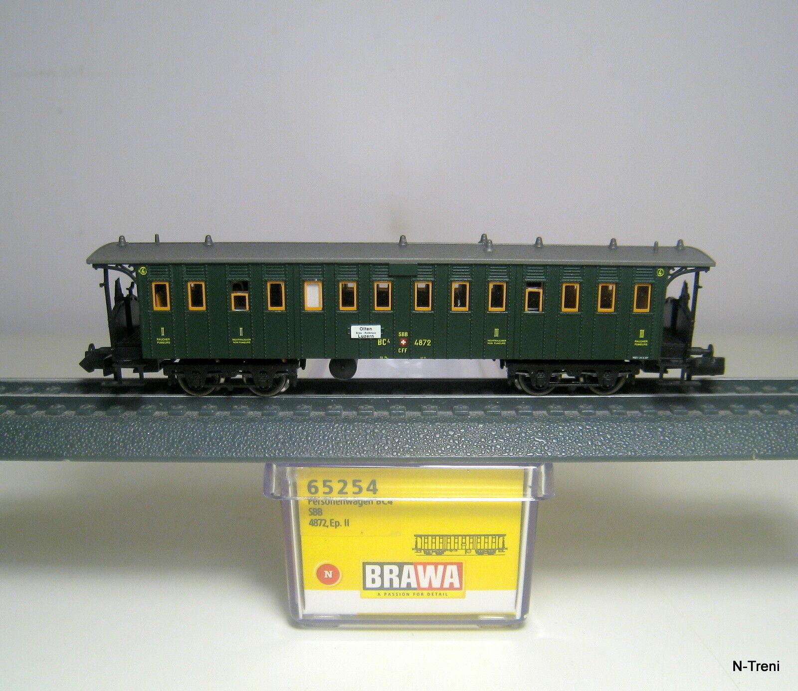 Brawa N 65254 - Carrozza passeggeri a carrelli BC4 di II III classe SBB, ep.II