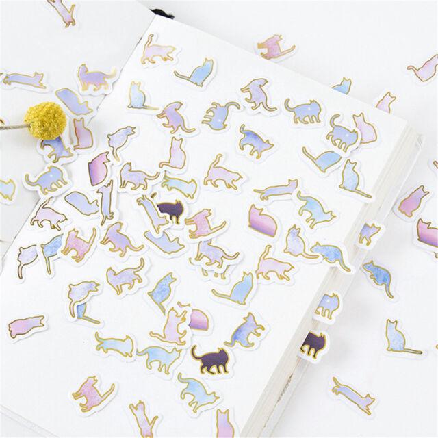 100PCS Cute animal cat Mini Paper Stickers DIY Diary Album Stick Decor Lot JFAU