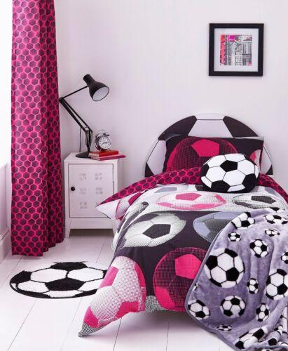 Catherine Lansfield Girl Boy Neon Football Duvet Cover Bedding Set Range Pink
