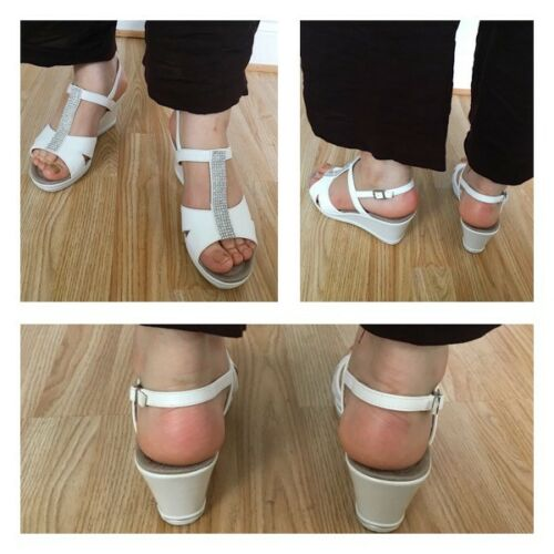 Wedge Touch Diamante Mule White Platform Fasten Shoe Sandal Women Size Gladiator 1ATwg