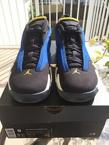 brand new a897f 6f263 Details about Nike Air Jordan 14 XIV Retro Low Laney Royal Maize 807511 405  Sz 9