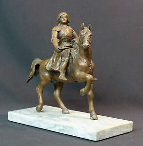 Juste C 19ème Rare Statuette Sculpture Régule Jeanne D'arc à Cheval Armes 2.6kg24cm éLéGant En Odeur