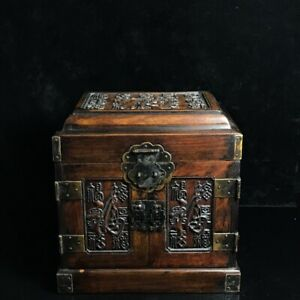 10-034-Chinese-old-antique-huanghuali-wood-hand-carved-Fu-word-mark-Jewelry-box