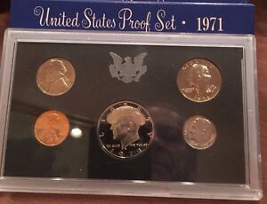 Coins: US 1971 US Mint Clad Proof Set 5 Gem Coins as Issued In OGP W/ Box