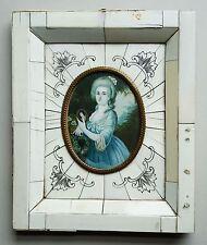 Miniatur Porträt einer Dame mit gepudertem Haar, GouacheMalerei, 19. Jahrhundert