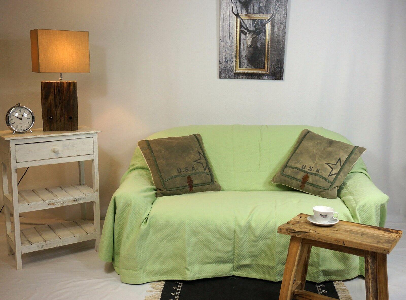 Waffeloptik Tagesdecke Sofadecke Überwurf Wohndecke Decke hellgrün 240 x 250 cm