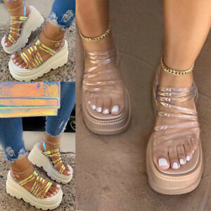 Womens Chunky Platforms Sandals Strappy Mules Fashion Holiday Shoes Summer New