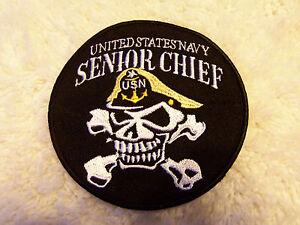 us navy senior chief skull amp crossbones patch 4quot new ebay
