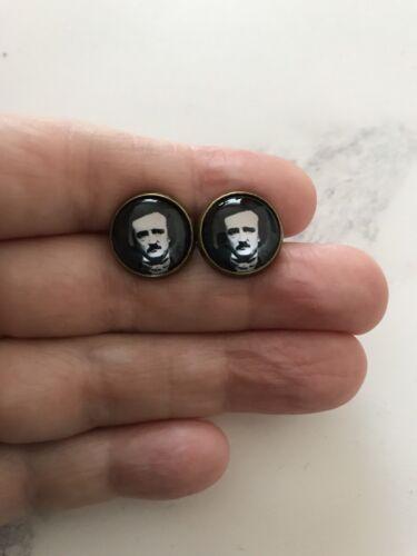 Edgar Allan Poe Bronze Stud Earrings 12mm Gothic Goth Steampunk