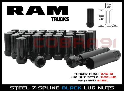 """2 Sockets Set of 20 XL Black Acorn Spline Duplex Lug Nuts 9//16/"""" RAM 1500 2011"""