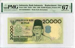INDONESIA-20000-RUPIAH-1998-99-P-138-B-REPLACEMENT-SUPERB-GEM-UNC-PMG-67-EPQ