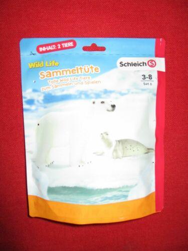 SCHLEICH ® Wild Life sammeltüte Set 6 2 animali ORSO Polare//ROBBE NUOVO OVP