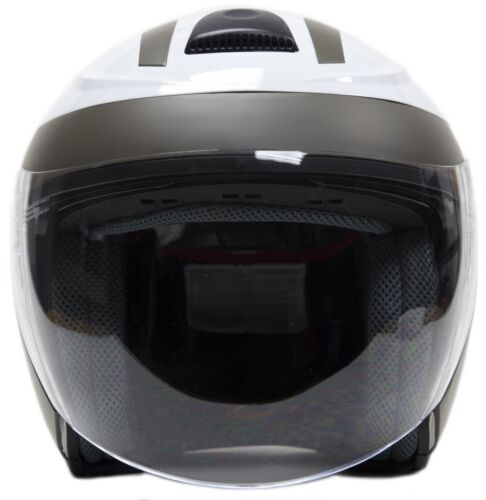 White Open Face 3//4 Helmet Motorcycle Moped Scooter Integrated Dual Visor DOT