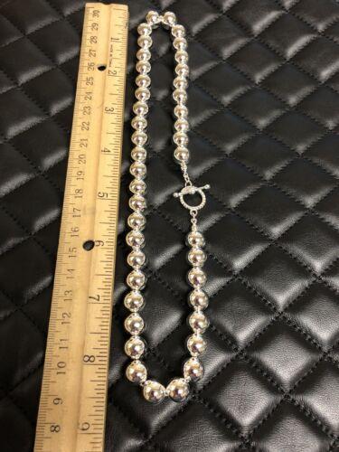 """Argent sterling plaqué Perles Boules COLLIER 10 mm 18/"""" Long"""