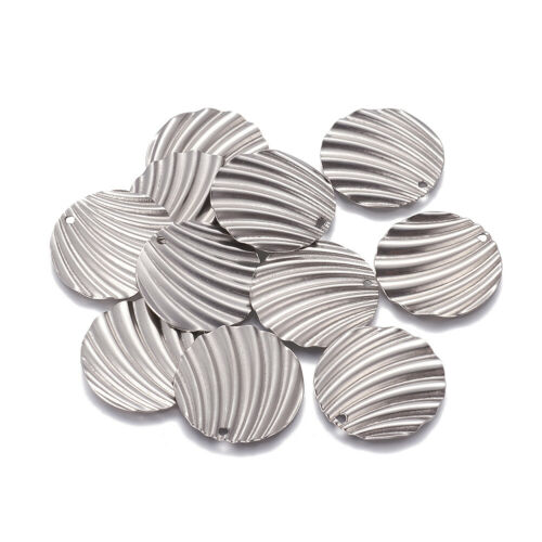 100pcs 304 Stainless Steel Coin Charms Textured Dangle Pendant Findings 28x1mm