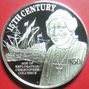 1997-COOK-ISLANDS-50-SILVER-PROOF-CHRISTOPHER-COLUMBUS-SHIP-EXPLORER-RARE-COIN