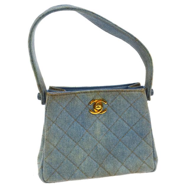 60ed4c7ef202 Authentic CHANEL Quilted CC Logos Mini Hand Bag Blue Denim Vintage AK25642h