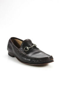 Gucci-Mens-Horsebit-Loafers-Leather-Brown-Silver-Tone-Size-10