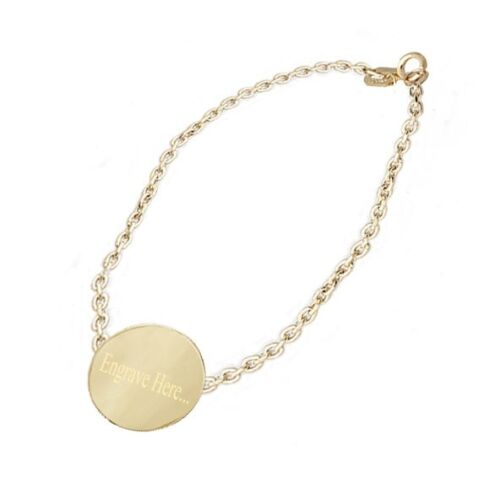 Personalized Disc Circle Name Tag in 14k Yellow Gold ID Bracelet 7 inches Chain