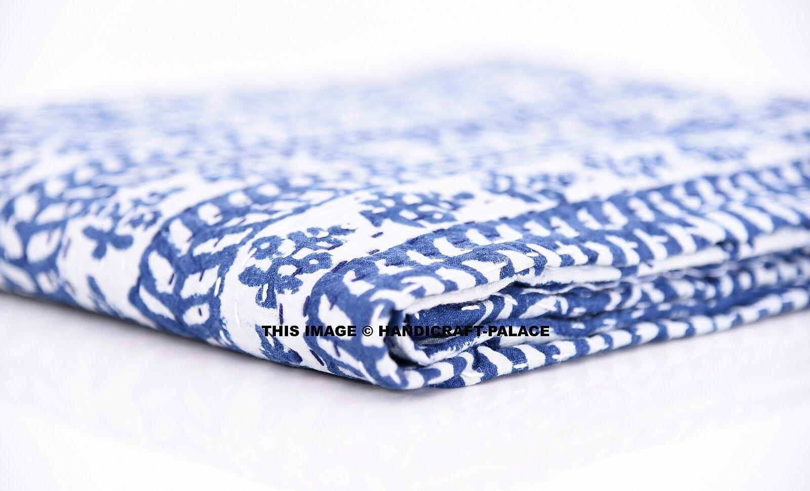 Indian Handmade Quilt Kantha Queen Bedspread Throw Cotton Blanket Indigo Blau