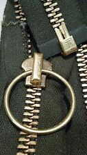 "VTG NOS/RING PULL Jacket Zipper 1x TALON #10 Separating BRASS 31"" OLIVE/COTTON"