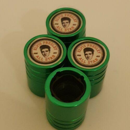 Elvis PRESLEY PNEUMATICO VALVOLA Metallica verde polvere tappi in plastica all/'interno tutte le auto antiaderente