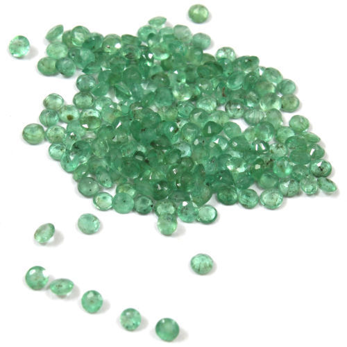 Light Green Natural Brazilian Emerald 2 mm Faceted Round 20 pcs Loose Gemstone