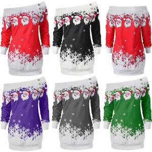 UK-Women-Girls-Christmas-Jumper-Dress-Ladies-Xmas-Santa-Long-Sleeves-Tops-Blouse