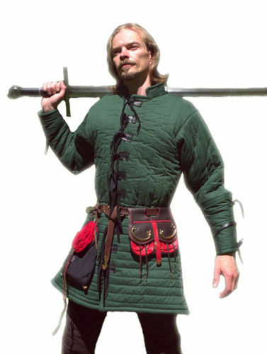 Medieval Gambeson Full Sleeves in Green Color/Renaissance/ Cotton Gambeson LARP